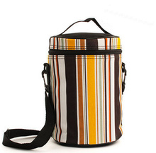 Striped zipper retro lunch bag insulated bag Picnic Drink Food Thermal Ice Cooler Leisure Accessories Supplies Product