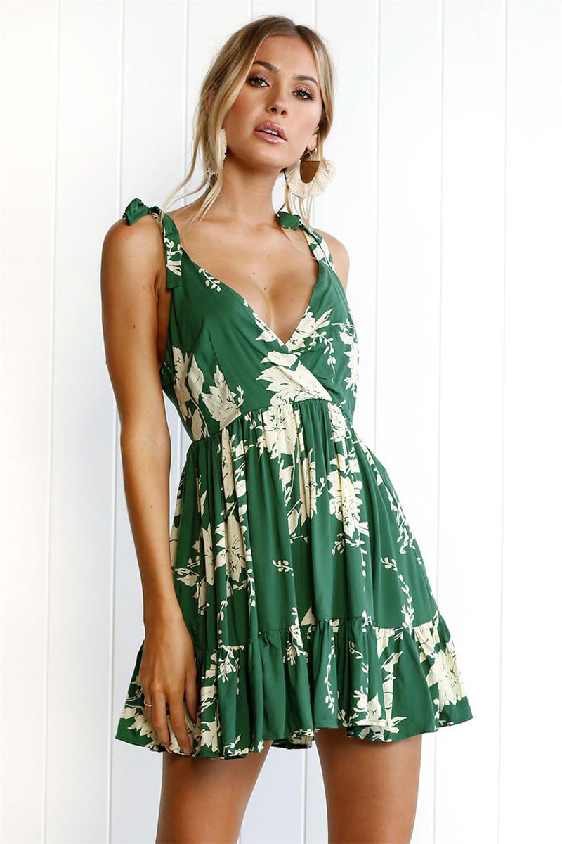 Hirsionsan Short Bohemian Dress 2017 Summer Women Sundress Sexy V-neck Floral Print Boho Dress Backless Green Beach Sundress 4