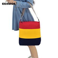 2016 Fashion Design Women Girl Casual Messenger Bags Canvas Crossbody Single Shoulder Patchwork Striped Beach Bag Bolsa Feminina