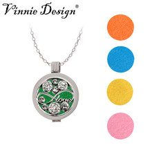 Vinnie Design Jewelry My Coin Disc Women Fashion Perfume Fragrance Crystal Infinity Love Pendant Essential Oil Diffuser Necklace