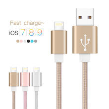 Cabel for iphone Metal Alloy USB Cable for Lightning to USB Braid USB Cable for iPhone 6s/SE/5s/6/plus Charging cable for iPad