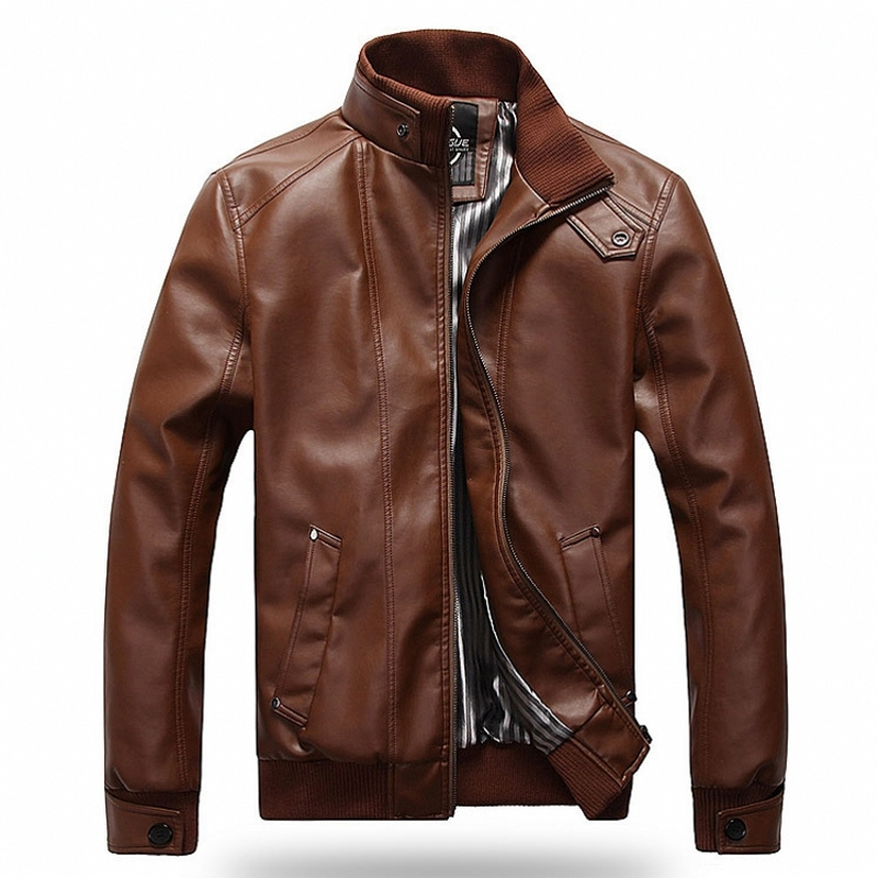 2018 Fashion New Spring Autumn Motorcycle PU Leather Clothing Men Jacket Male Business Casual Coats Bomber Jacket Size M-5XL
