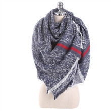 Luxury Brand Autumn Winter Scarf Women Solid Color Stitching Cashmere Blanket Warm Scarves Shawl Large Size Fashion Scarf(China)