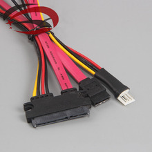 2 in 1 4Pin FDD Floppy Male Power + 7Pin SATA Female Data to 7+15Pin 22P SATA Conjoint Cable Cord 18AWG 40cm(China)