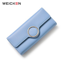 WEICHEN Fashion Geometric Element Hasp Long Day Clutch Wallets Soft PU Leather Female Purse Ladies Card Coin Phone Pocket Purses