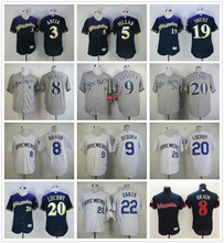 MLB Milwaukee high quality fast shipping Brewers Ryan Braun Robin Yount Jonathan Villar Orlando Arcia Lucroy jerseys(China)