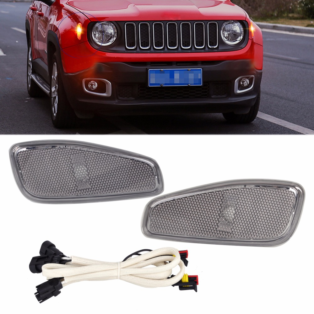 DWCX 2Pcs Car Side Marker Lamp Covers with LED Light Cable 68256050AA 68256049AA CH2550134 CH2551134 for Jeep Renegade 2015 2016<br>