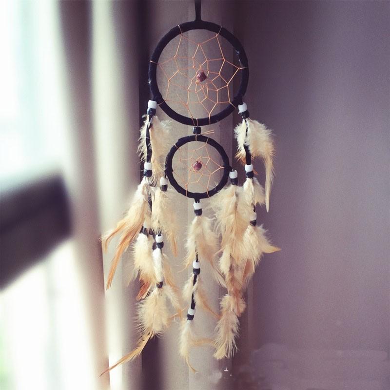 Attrape rêves Artisanal décoratifs plumes décoration intérieur capteur de rêves indien culture amérindiennes idées déco Dreamcatcher Bleu marine