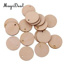 MagiDeal High Quality 100Pcs/Lot Round Unfinished Wood Pieces & Hole for Art Tags Party Board Classroom Board DIY Crafts 30mm(China)