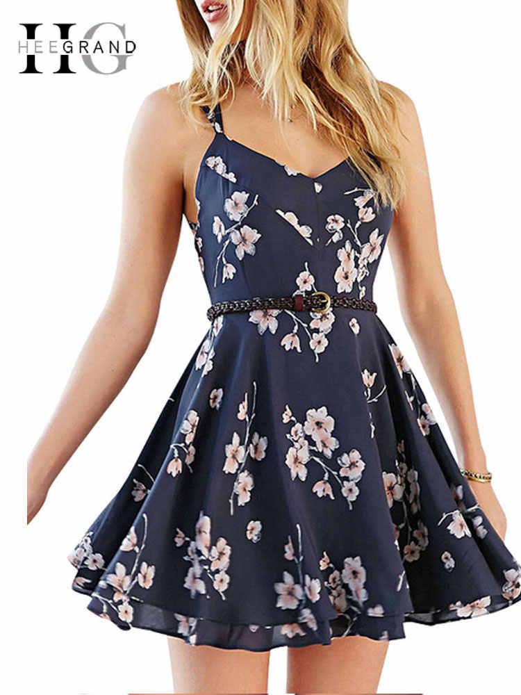 HEE GRAND Women Summer Spaghetti Strap Dress 2018 Chiffon Printed Slim Sexy  Sweet V-Neck 250483e8215c