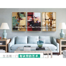 2017 DaFen New Hand Painted Oil Painting on Canvas Abstract 3Pcs Landscape Wall Painting for Living Room Hetol Decor Paintings