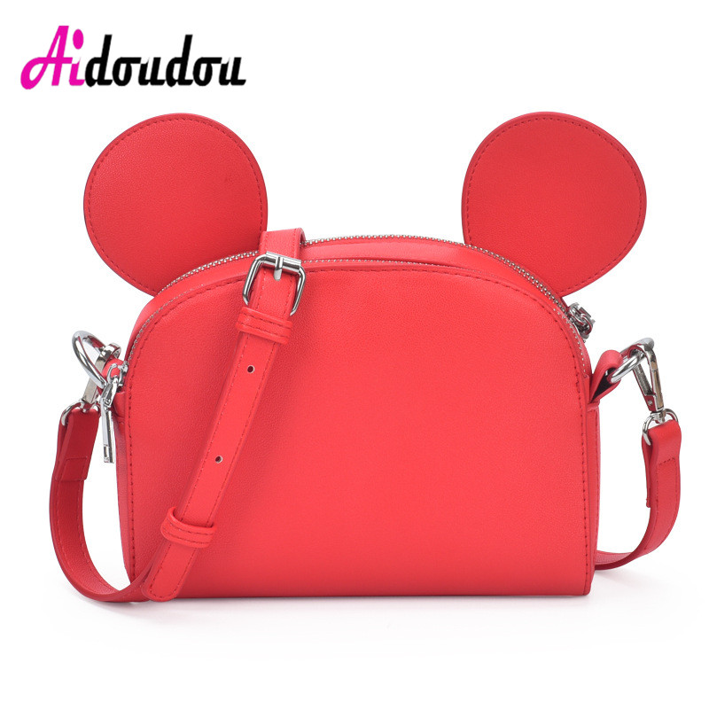 Fashion 2018 New Mickey Ear Designer Bags Famous Brand Small Bags For Women Girl High Quality Mini Soft PU Leather Shoulder Bag<br>
