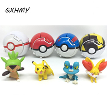 GXHMY 4 Styles Throw Automatically Bounce Pokeball with Random Figures Anime Creative Toys for Children Gifts Kids Baby Toy