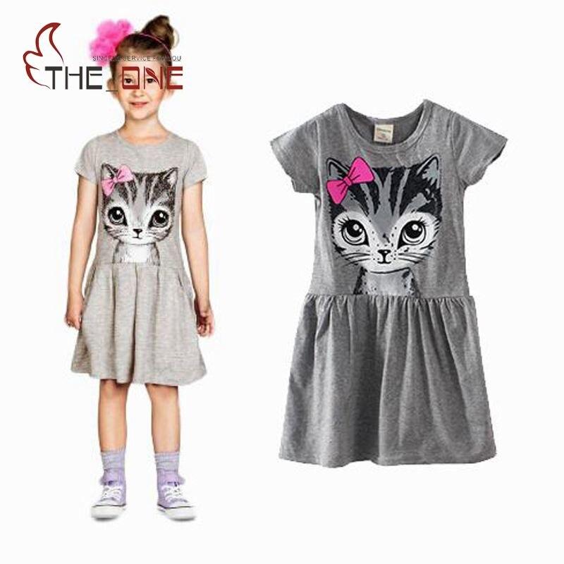 Girls Cat with Bow Print Cotton Dress Kids Girl  Gray Pink Short Sleeve Dresses Vestido Infantil 2-8T T495<br><br>Aliexpress