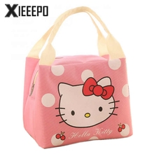 Portable Lunch Bag Cartoon Hello Kitty Insulated Cooler Bags Thermal Food Picnic Lunch Bags Women Kids Men Lunch Box Bag Tote(China)