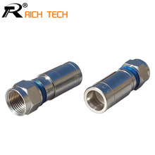 3pcs High quality RG59 rf Wire connector Weatherproof F Compression Connector RF COAXIAL cable Adapter R connector(China)