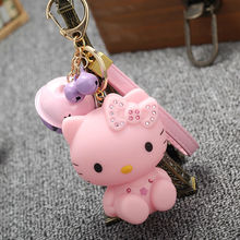 Extremely Cute Pink Pink Hello Kitty Keychain Tinkle Bell Pendant For Bag Purse Charms Holiday Gift Novelty Anime Products