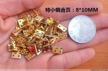 100Pcs 8*10 Mini Cabinet Drawer Butt Hinge  Brass  copper gold small hinge 4 small hole 8*10 copper hinge