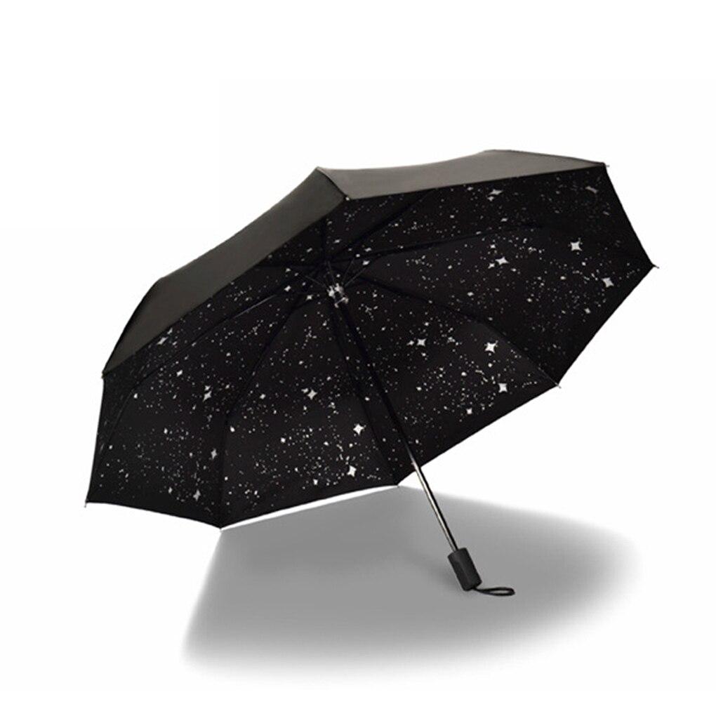 Concise Starry Sky Black Coating Windproof Anti UV Sun Rain Triple Folding  Umbrella faeed2ce4b
