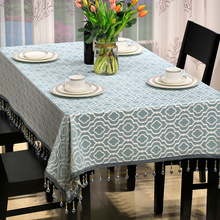 Luxury Blue Jacquard Tablecloth for Dinning Tables/Car-covers Tafelkleed Romantic Custom Table Cloth Square Table Cover