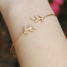 Women's Simple Leaves Bangle Bracelet Tree Leaf Charm Gold Silver Plated Jewelry
