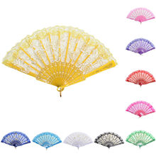 1pc Colorful Chinese Style Lace Silk Folding Hand Held Dance Fans Flower Party Wedding Prom Hand Fans(China)