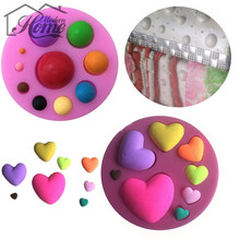 Heart Round Shape 3D Silicone Cake Mold Christmas Decor Fondant Mould, Cake Decoration Tools, Soap, Candle Moulds Baking Tools