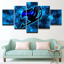 Canvas Print Modern Artwork Canvas Painting 5 Panel Anime Fairy Tail Logo Poster Wall Art Home Decor For Living Room Pictures(China)
