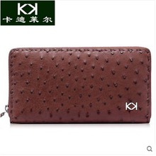kadiler Import ostrich skin men bag multi-function long men purse more screen casual men day clutches(China)