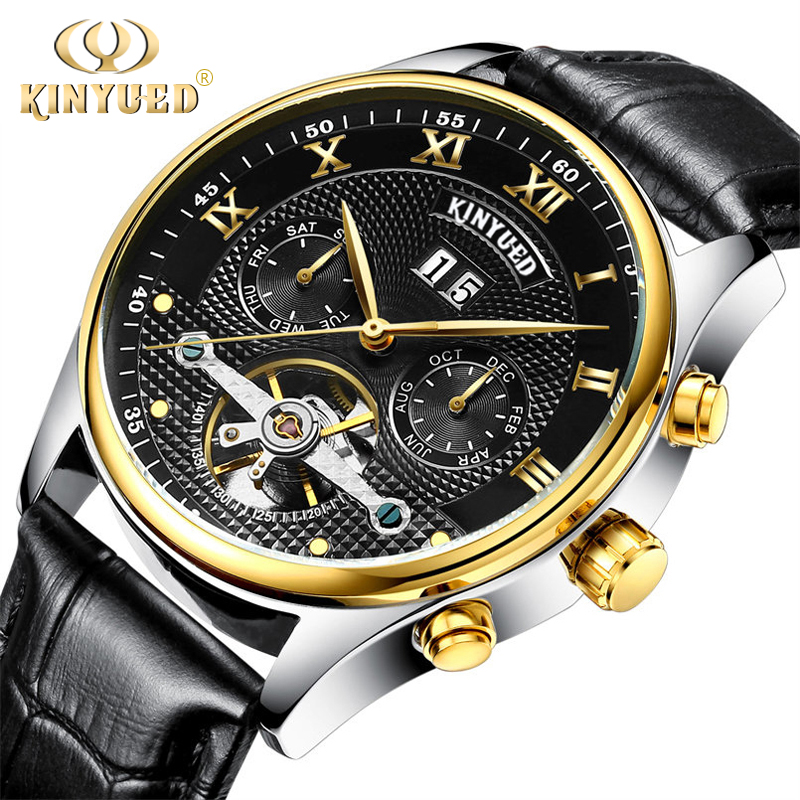 new Kinyued Tourbillon Mechanical Watch Men Automatic Skeleton Genuine Leather Horloges Mannen Stainless Steel Calendar Watches<br>
