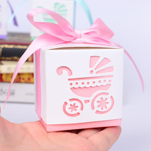 Useful Practice 10Pcs Small Laser Cut Carriage Gift Candy Boxes Bags Wedding Party Favor With Ribbon Baby Shower Decoration