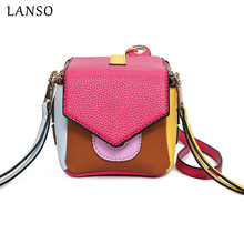 LANSO Macarons Panelled Purse Box Square Clutch Bag Casual Totes Designer Handbags Women lovely Party Purses Day Clutches