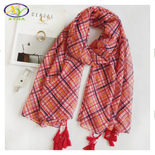 1PC 2017 Spring New Korea Style High Quality Soft Cotton Women Long Tassels Scarf Thin Woman New Cotton Viscose Pashminas