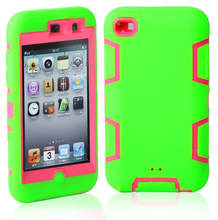 3 in 1 Shockproof Armor Case For Apple iPod Touch 4 New Candy Color Silicone and Plastic Back Cover Hole Logo