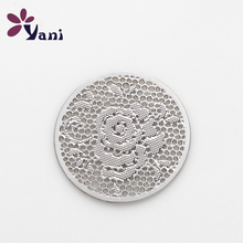 New Item Brand Plates 20pcs/lot Alloy Hollow Silver Rose Flower Plate For Floating Charm Lockets Necklace CHM#333