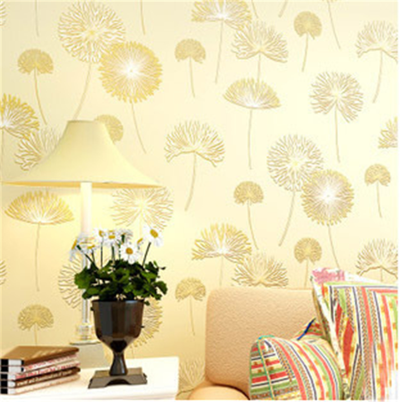 beibehang High Quality Romantic Dandelion Wedding Decorative Wallpaper Non-woven Floral 3D Wallpapers Mural Wall Paper 4 Col<br>