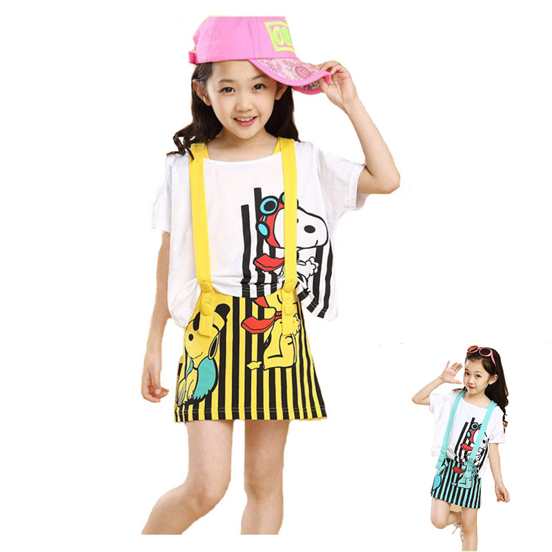 2017 New Fashion Teenage Girls Casual Clothing Baby Children  Princess Two-Piece Dress Cartoon 2PCS Set Dress<br><br>Aliexpress
