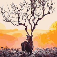 Artistic Cute Deer Antler Deadwood Sunset Wilderness Picture Canvas Decor Wall Picture Digital Oil Painting For Living Room(China)