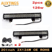 DE STOCK Free Tax ! 2PCS 126W 20inch Led Work Light Bar combo beam Driving Fog Lamp For Car Offroad ATV 4x4 4WD SUV Boat