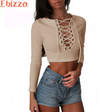 Ebizza Sexy Lace Up Criss Cross Women Short T Shirt Vintage Knitted Crop Top  Front Plunge Neckline Bandage Short Tops Tees New