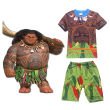 2017 New Cartoon Moana clothes boys clothing cotton pajamas set Maui costume 2 piece set