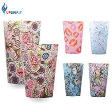 Upspirit Silicone Milk Mugs Unbreakable Foldable Pint Cup Beer Coffee Printed Mug Portable Drinkware for Home and Outdoor Travel