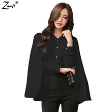ZAWFL Women Blouses Top Korea New 2017 Summer Turn-down Collar Elegant Cloak Top Cape Shirts Casual Work Wear Chiffon Blouse(China)