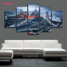 AtFipan Modular Wall Painting World of Warships Wargaming Game Unframed 5Pcs  Oil Painting On Canvas HD Pictures For Living Room