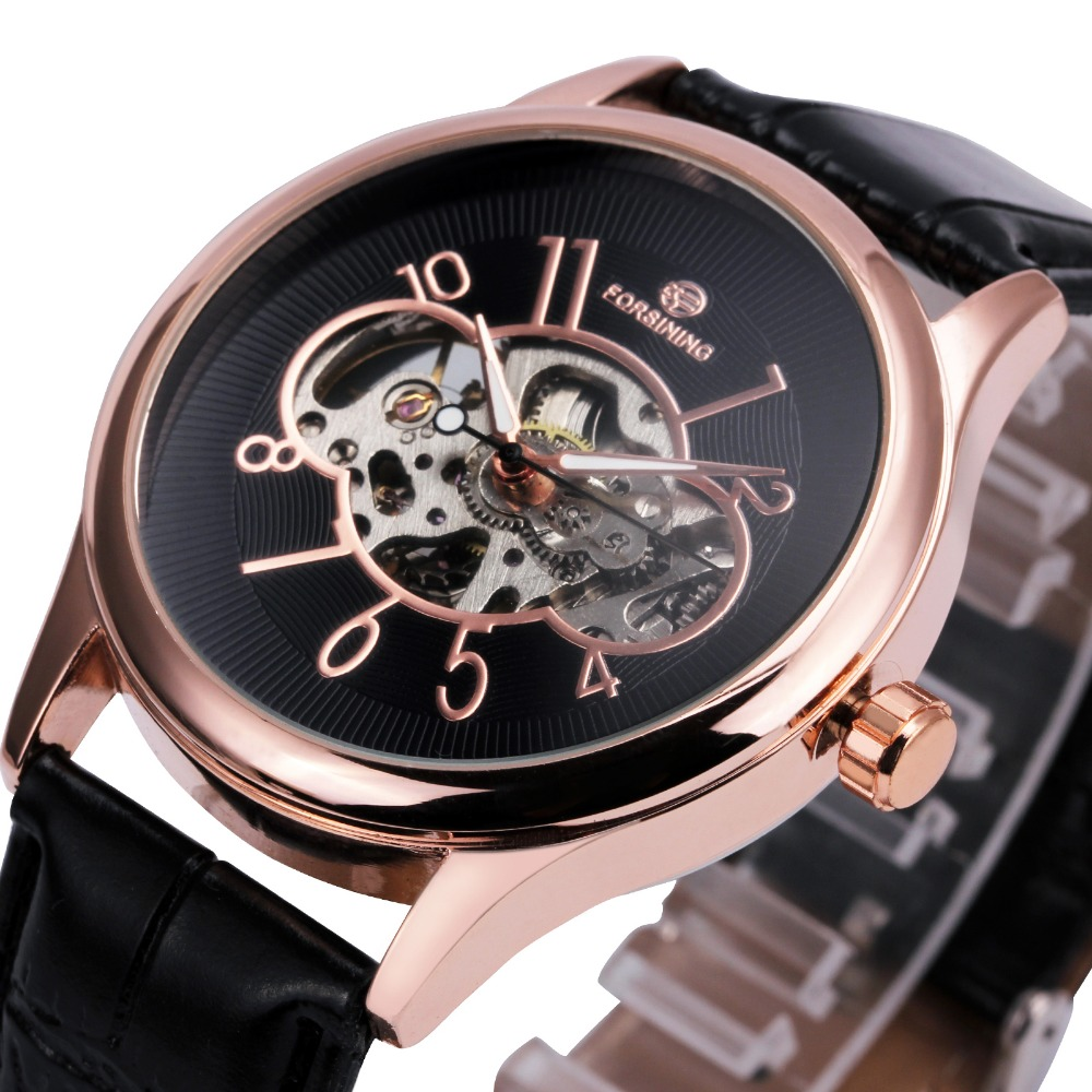 Vintage Fashion Men Mechanical Watches Top Brand Luxury FORSINING Sleleton Wristwatch Leather Band Luminous Hands Arabic Number<br>