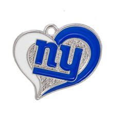 High Quality Heart Enamel Football New York Giants Team Logo Dangle Charms Fit DIY Bracelet&Necklace Pendant Jewelry 10PCS(China)