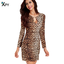 Women Dress Casual Long Sleeve Sexy V Collar Summer Dress Sheath Bracelet Leopard Print Mini Sexy Dress