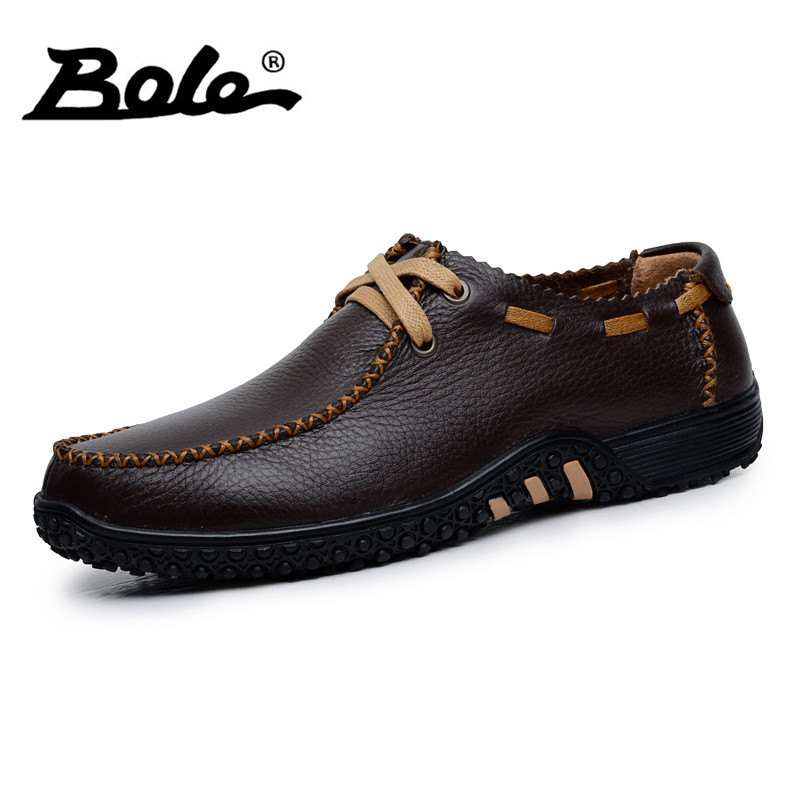 BOLE New Handmade Leather Men Shoes Fashion Designer Lace Up Breathable Men Casual Shoes Flats Shoes Men Footwear Big Size 39-47<br>