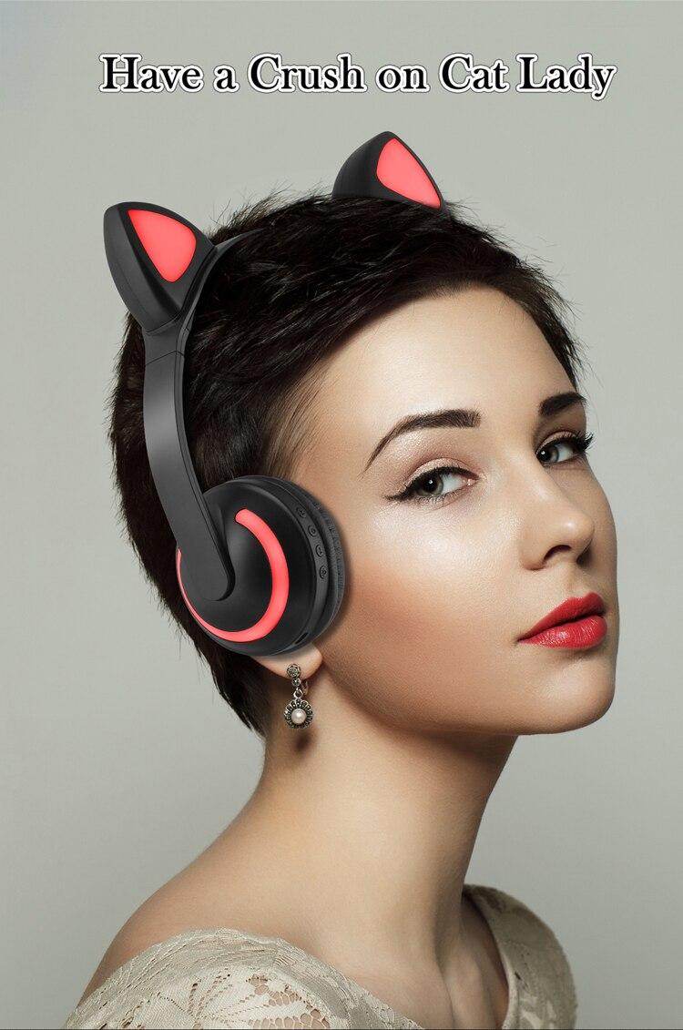 E2232 Cuffie per orecchie di gatto con luce LED lampeggiante Cosplay (2)
