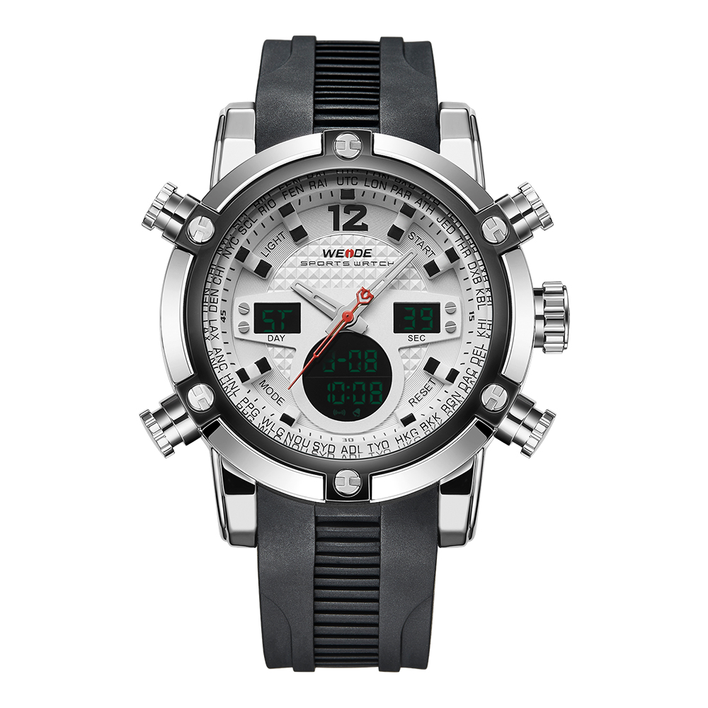 WEIDE Multifunction Sport Watch Digital Backlight LCD 3ATM Mens Quartz Movement Analog Digital Date Alarm Military Men Stopwatch<br>